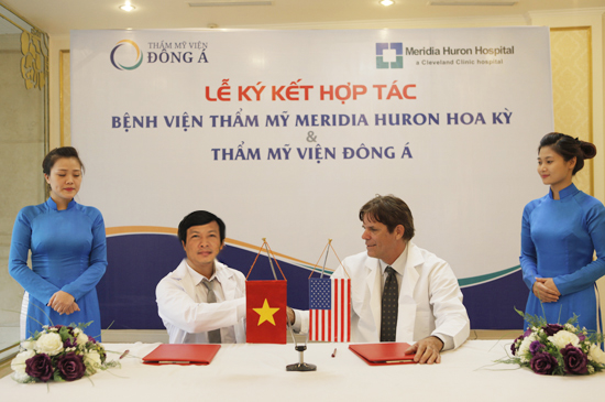 The signing ceremony of cooperation between Dong A and USA Meridia Huron Hospital